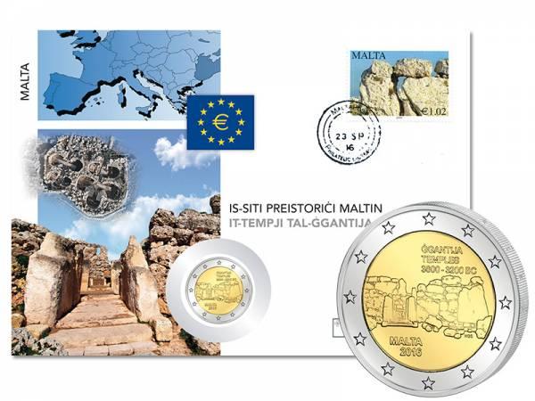 2 Euro Numisbrief Malta Ggantja-Tempel Gozo 2016