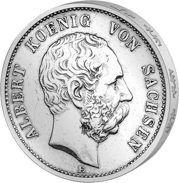 5 Mark Sachsen König Albert 1875-1876 Sehr schön