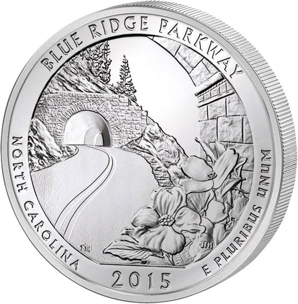 Quarter Dollar USA North Carolina Blue Ridge Parkway 2015 prägefrisch