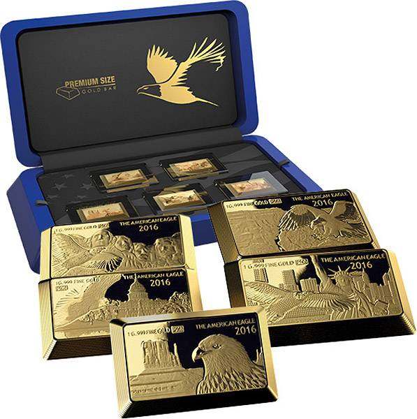 5 x 5 Dollars Fidschi Goldbarren Kollektion Eagle
