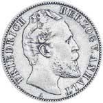 2 Silber Mark Friedrich I. Herzog v. Anhalt 1876 Sehr schön