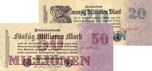 20 und 50 Millionen Mark Reichsbanknote 1923 Sehr schön