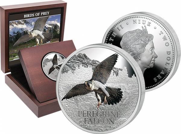 2 Dollars Niue Birds of Prey Wanderfalke 2013 Polierte Platte