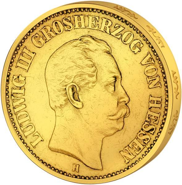 10 Mark Gold Hessen Ludwig III. 1872-1873 Sehr schön