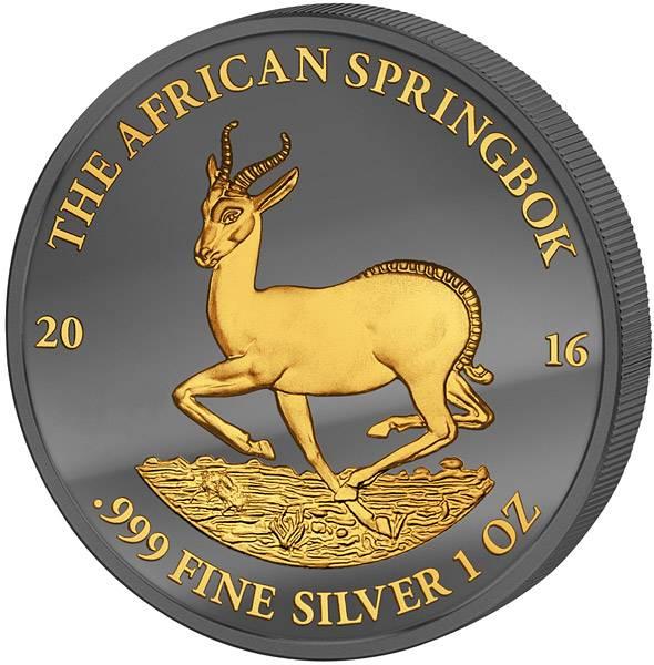 1 Unze Gabun Springbock 2016 Golden Enigma