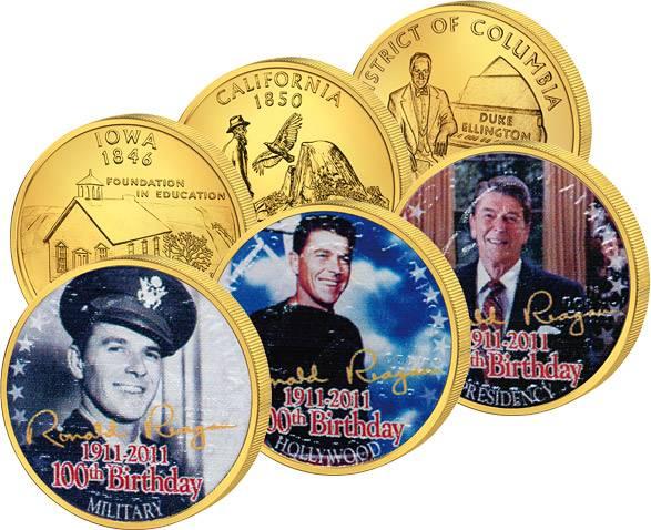 3 x 25 Cents USA mit Farb-Applikation Ronald Reagan  Stempelglanz