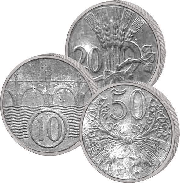 10 u. 20 u. 50 Heller u. 1 Krone Böhmen und Mähren 1940-1943 Sehr schön