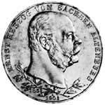 5 Mark Sachsen Altenburg Ernst 1901 Sehr schön