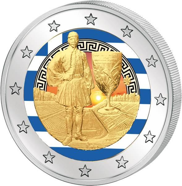 2 Euro Griechenland 75. Todestag Spyridon Louis mit Farb-Applikation 2015  prägefrisch