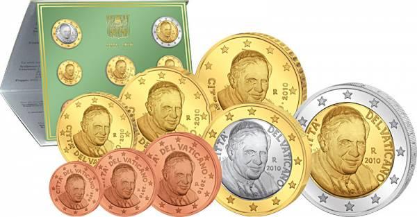 1 Cent-2 Euro (8 Werte) Euro-Kursmünzensatz Vatikan 2010 Stempelglanz