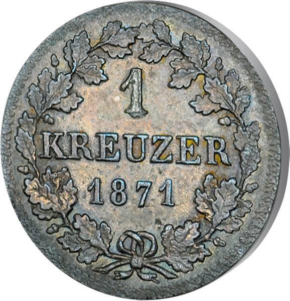 1 Kreuzer Bayern König Ludwig II. 1871 ss-vz