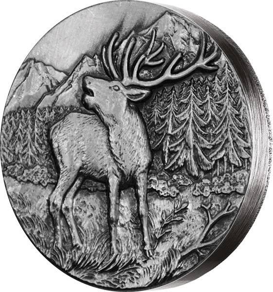 2 Dollars Niue Schweizer Tierwelt Rotwild 2015 Antik-Finish