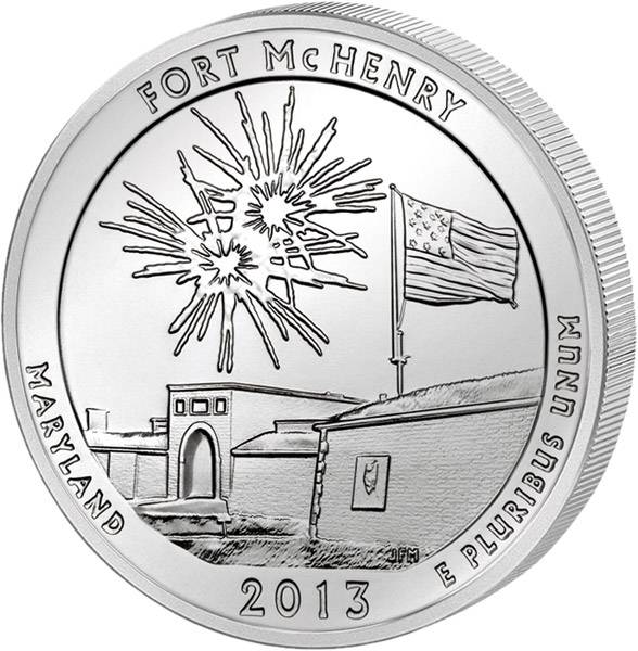 Quarter Dollar USA Maryland Fort McHenry 2013 prägefrisch