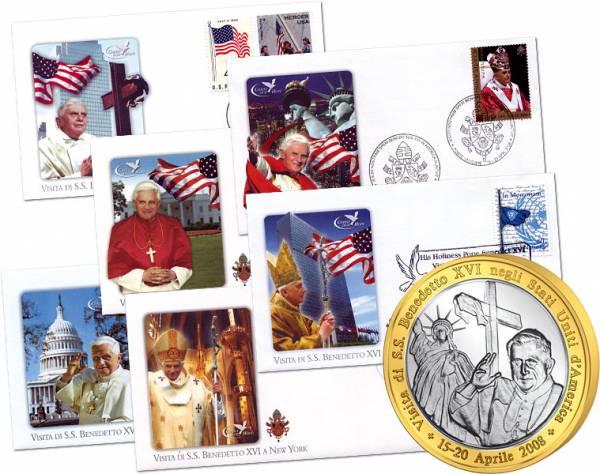 6er Set Gedenkbriefe- und Medaille Papst USA-Reise 2008