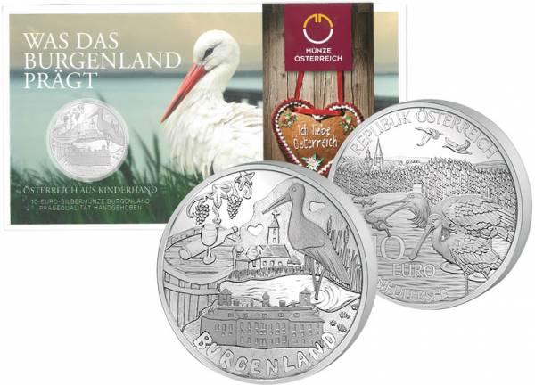 10 Euro Silber Österreich Burgenland 2015 handgehoben