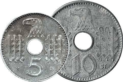 5 u. 10 Reichspfennig Drittes Reich Hakenkreuz Lochgeld 1940 ss-vz