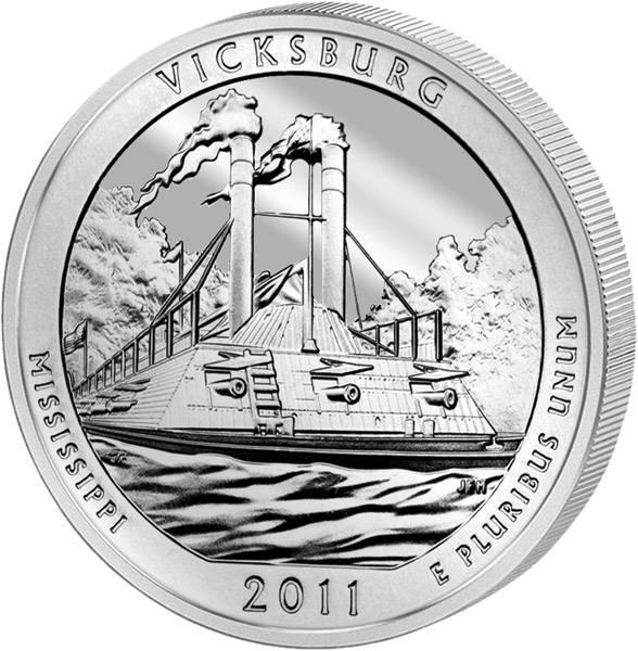 Quarter Dollar USA Vicksburg Mississippi 2011 prägefrisch
