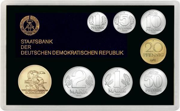 1 Pfennig - 2 Mark DDR Kursmünzensatz inkl. Gedenkprägung Schmelzen prägefrisch