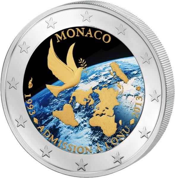 2 Euro Monaco 20 Jahre Mitglied in den Vereinten Nationen mit Farb-Applikation 2013   prägefrisch