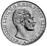 Taler Vereinstaler Heinrich LXVII. 1858, 1862 Vorzüglich