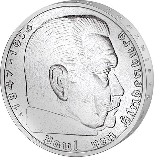 5 Reichsmark Hindenburg Hakenkreuz 1936-39 ss-vz