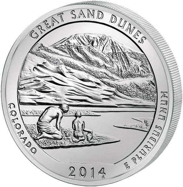 Quarter Dollar USA Colorado Great Sand Dunes National Park 2014 prägefrisch