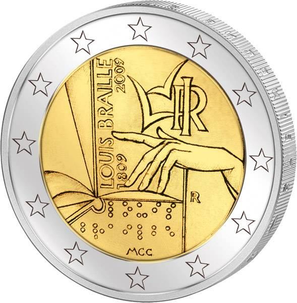2 Euro Italien Louis Braille 2009 prägefrisch