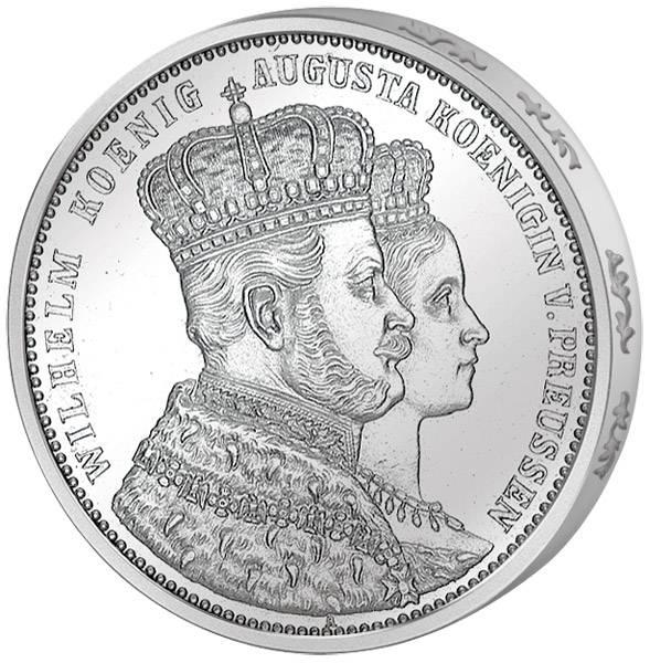 Taler Krönungstaler Preußen Wilhelm I. und Augusta 1861 Vorzüglich