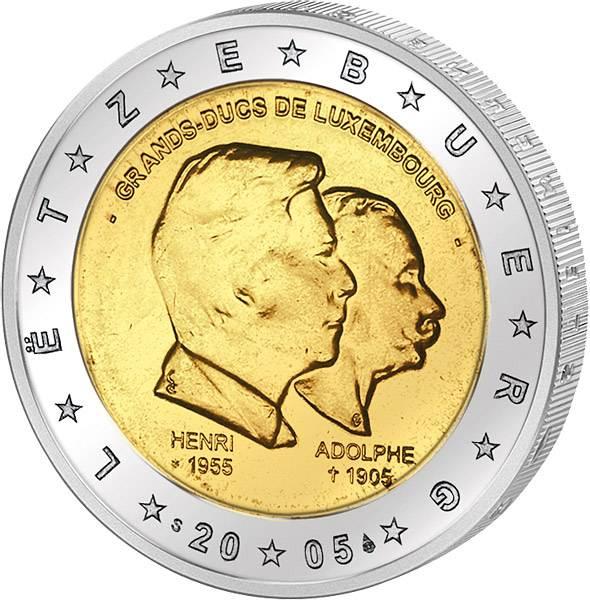 2 Euro Luxemburg Großherzog Henri und Adolphe 2005 Stempelglanz