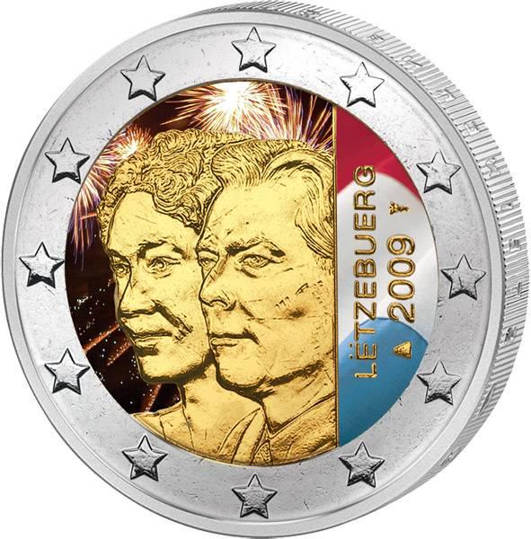 2 Euro Luxemburg 90 Jahre Thronbesteigung mit Farb-Applikation 2009 prägefrisch