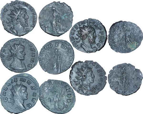 5 Antoniniane Rom Die Deutschen römischen Kaiser 253-268 n.Chr. s-ss