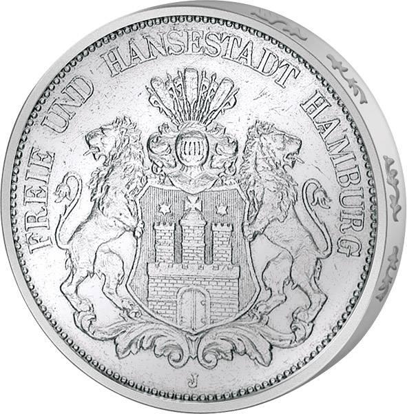 5 Mark Wappen großer Adler 1891-1913 Hamburg, Freie und Hansestadt sehr schön