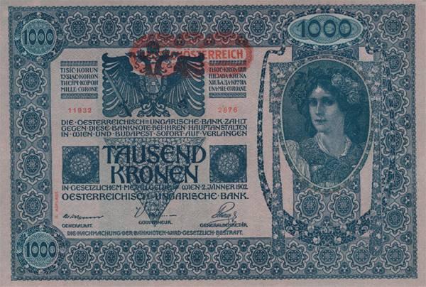 1.000 Kronen Banknote Deutsch-Österreich