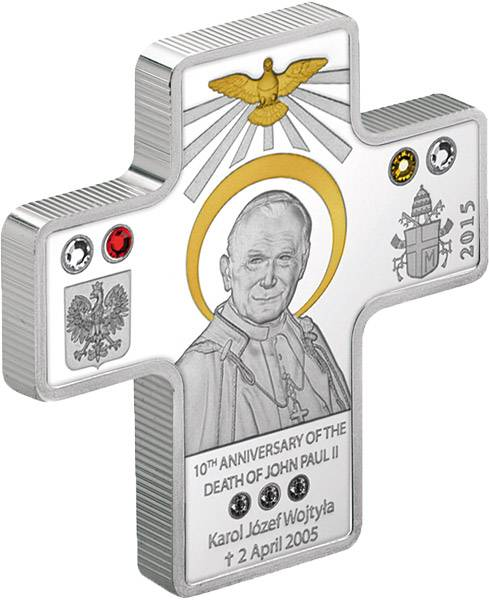 5 Dollars Cook-Inseln 10. Todestag Papst Johannes Paul II. 2015 Polierte Platte