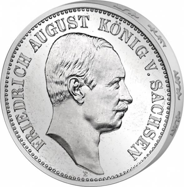 3 Mark Sachsen Friedrich August III. 1908-1913 E Sehr schön