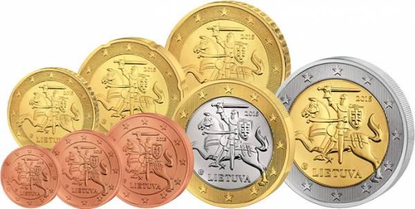 1 Cent - 2 Euro Kursmünzensatz Litauen 2015  prägefrisch