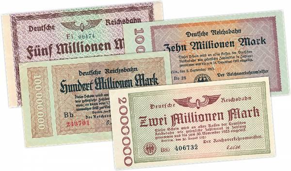 2, 5, 10, 100 Millionen Mark 1923