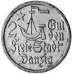 2 Gulden Danzig Stilierte Kogge 1923 Sehr schön