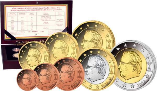 Euro-Kursmünzensatz Belgien 2002