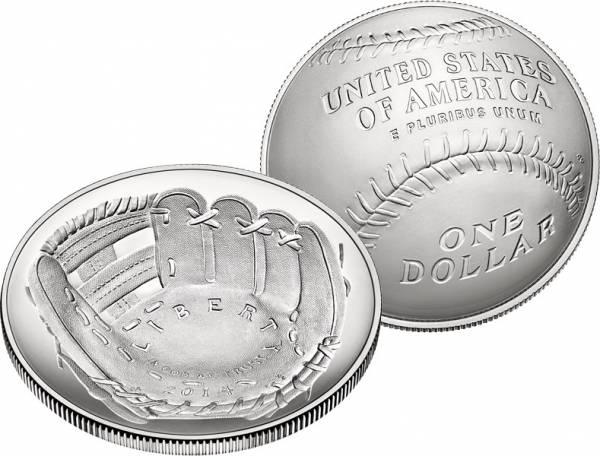 1 Dollar USA National Baseball Hall of Fame 2014 Stempelglanz