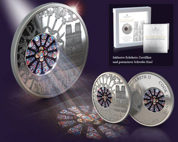 10 Dollars Cook Inseln Notre Dame de Paris Rosettenfenster der Südfassade 2011 Proof Like