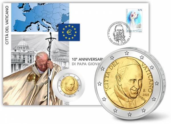 2 Euro Numisbrief Vatikan 10. Todestag Johannes Paul II. 2015 prägefrisch
