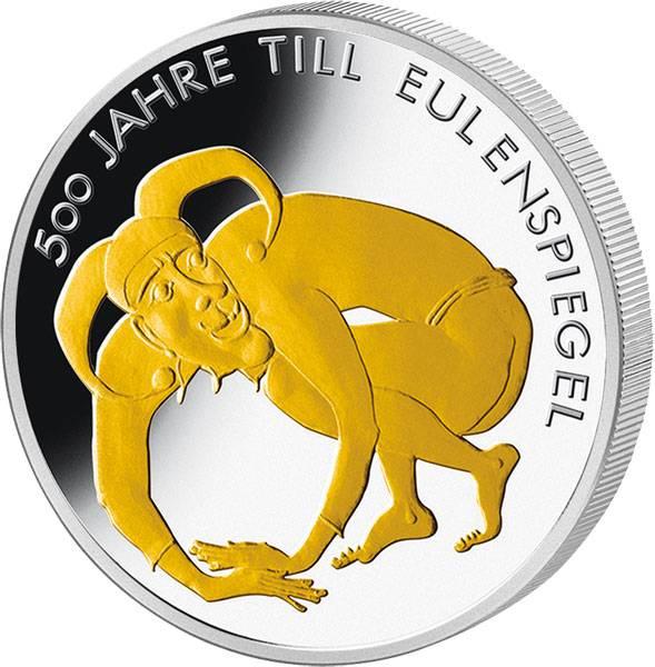10 Euro BRD 500 Jahre Till Eulenspiegel mit Gold-Applikation 2011 Polierte Platte