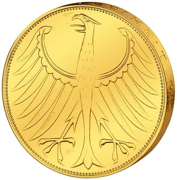 5 DM Münze BRD Silberadler vollvergoldet