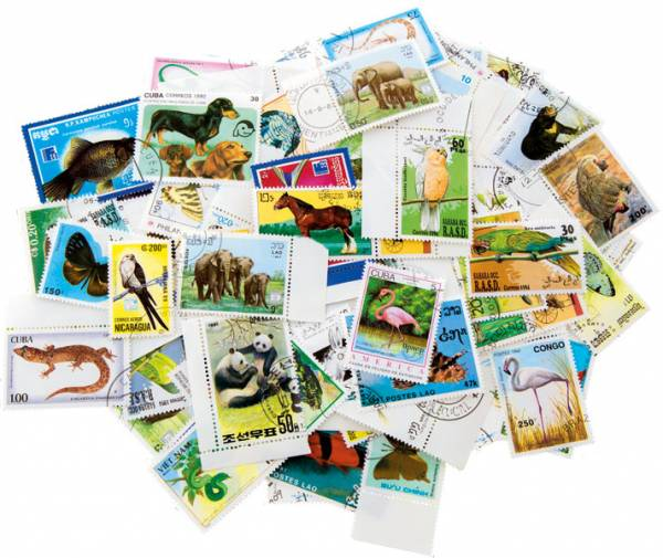 Briefmarken-Sets 100 verschiedene Tiermotive