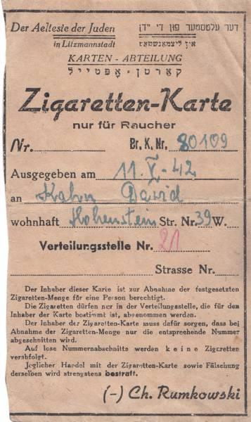 Zigarettenkarte von 1942