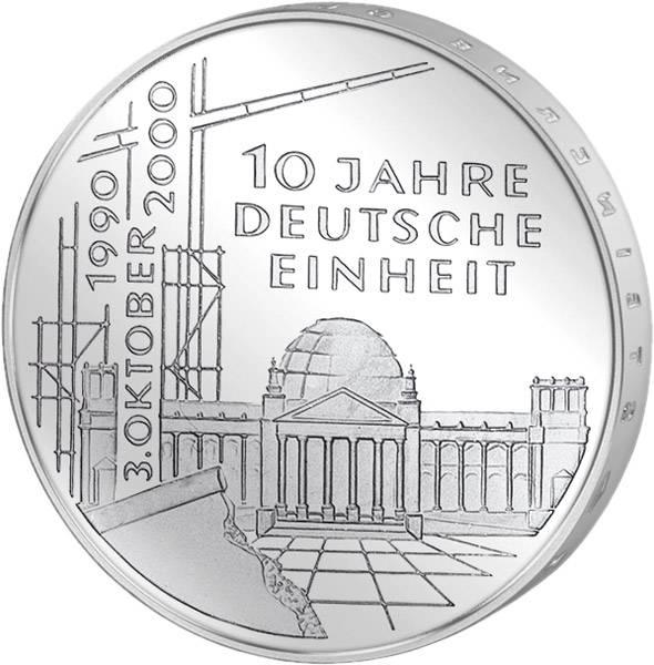 10 DM Münze BRD 10 Jahre Deutsche Einheit 2000 Unsere Wahl vorzüglich