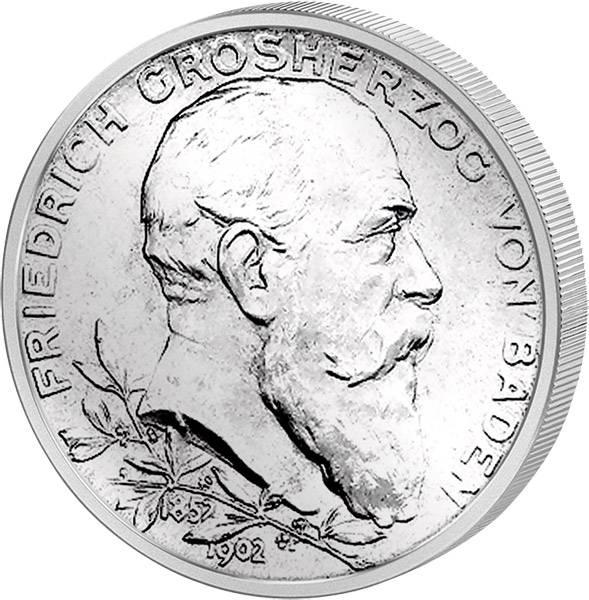 2 Mark Baden Großherzog Friedrich I. 50. Regierungs Jubiläum 1902 Vorzüglich
