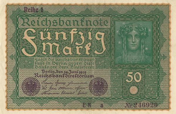 50 Mark  Banknote Wiener 1919  zirkuliert