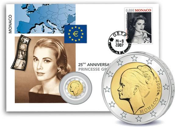 2 Euro Numisbrief Monaco Grace Kelly 2007 Stempelglanz